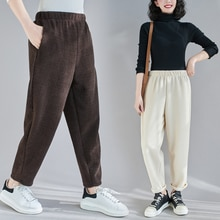 Fleece-Lined Thick Corduroy Pants Winter Artistic Retro Elastic Waist Slimming Harem Pants Loose Cas