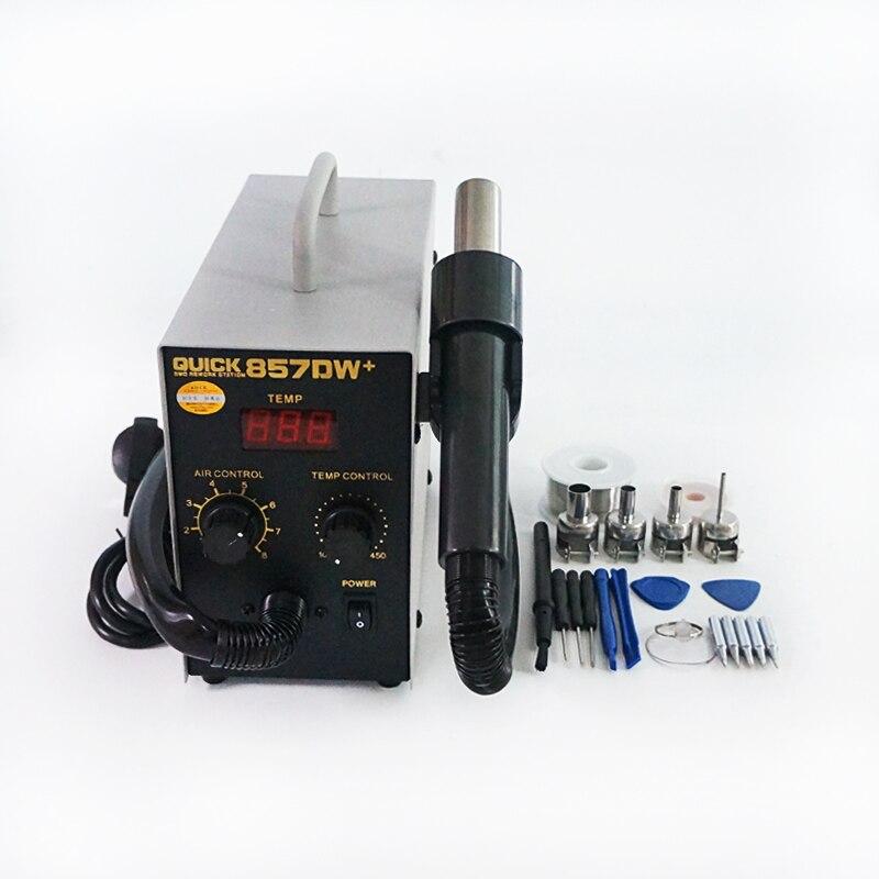 220V الأصلي QUICK-857DW + لحام محطة SMD SMT الكهربائية مع فضي الحديد تلميح 8 قطعة افتتاح أدوات ESD فرشاة أدوات