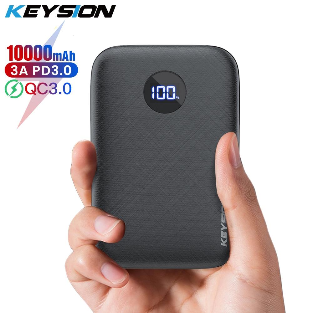 Batería Externa KEYSION 10000mAh tipo C PD para iPhone 11 Pro Max XS mini pantalla LED portátil QC 3,0 cargador de batería para Samsung S20