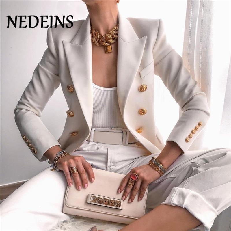 NEDEINS Winter Women Blazer Double Breasted Blazer Coat Fashion Slim long Sleeve Elegant Suit Jacket Office Women Blazer
