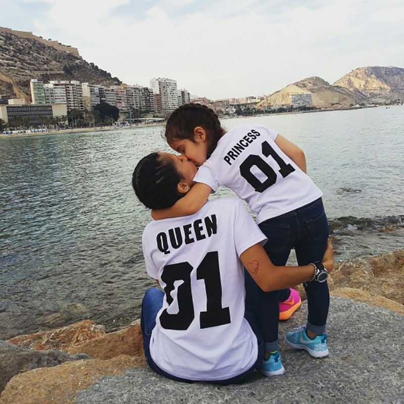 Купить с кэшбэком Summer Family Matching Short T Shirt Mommy And Son Look Print Letters Mama Boys Clothes Fashion T shirt mother and daughter