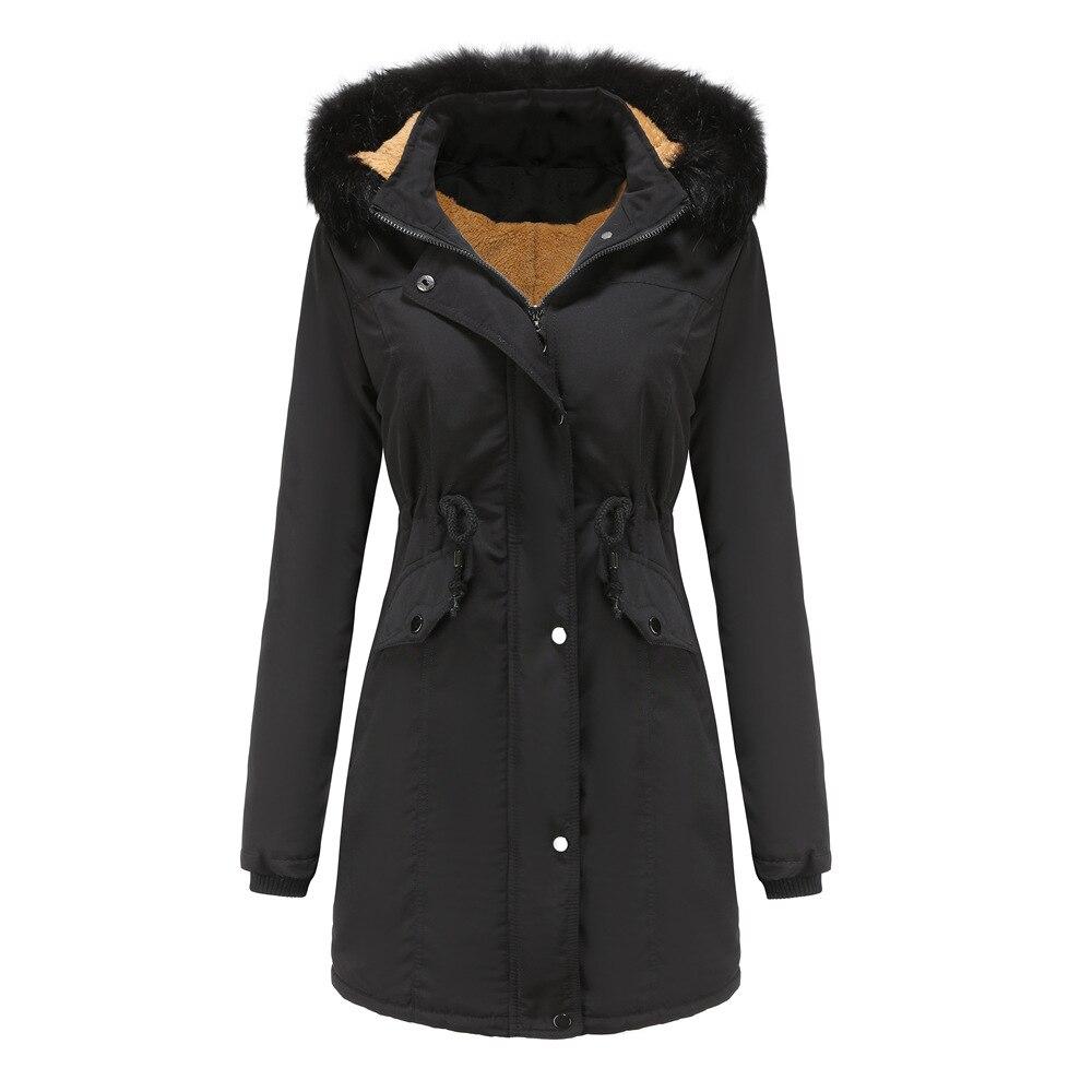Women's Winter Jacket Length Thick Warm Outwear Parkas Women Hooded Fur Collar Cotton-Padded Coat Pl