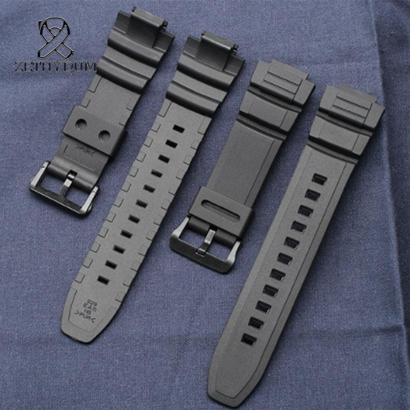 Relojes de pulsera de gel de sílice de gran calidad, de 16mm para reloj de pulsera de reloj SGW-100 3157, correa de reloj de goma de silicona deportiva simple