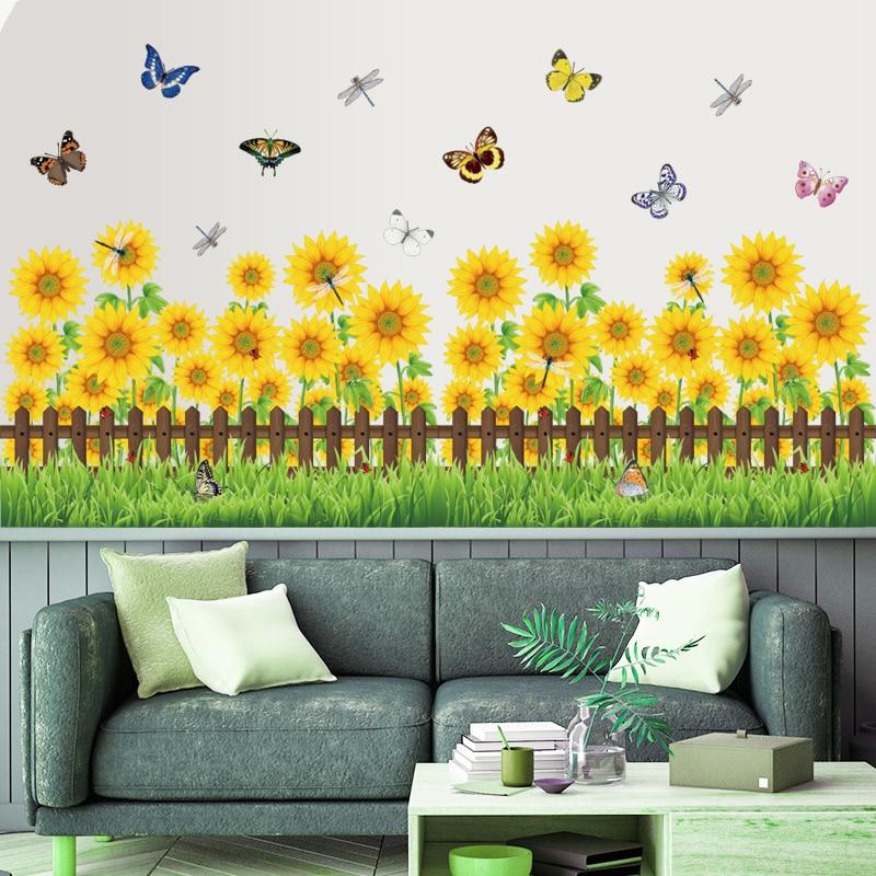 Pegatinas de pared de girasol de estilo Rural, planta amarilla de flores, placa base, calcomanía para cuarto de niños, cocina, baño, ventana, decoración, Mural de jardín