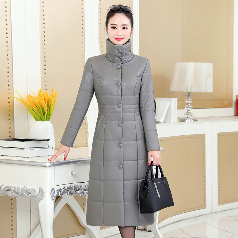 Fur and duck down women's long and thick women's large size mother's winter leather coat enlarge