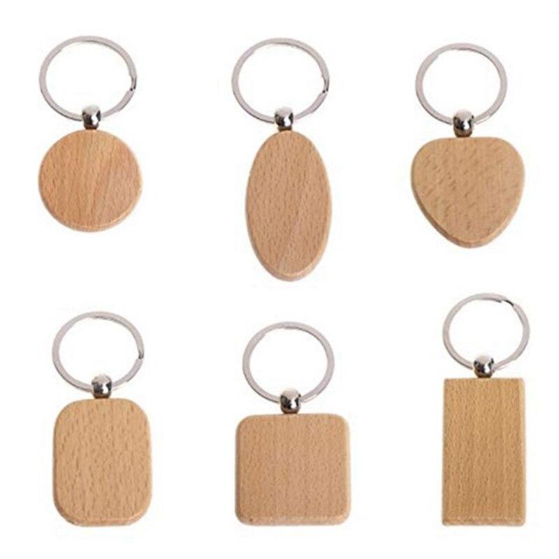 سلسلة مفاتيح خشبية فارغة صناعة 100 سلسلة مفاتيح خشبية يمكنك صنعها بنفسك علامة مفاتيح إكسسوارات خشبية مضادة للضياع هدية (تعبئة مختلطة)