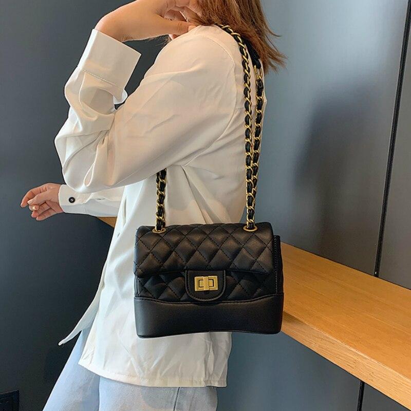 Sacos de mensageiro de couro de alta qualidade sacos de mensageiro de ombro de corrente elegante feminino cor sólida pequenos sacos quadrados canais bolsas