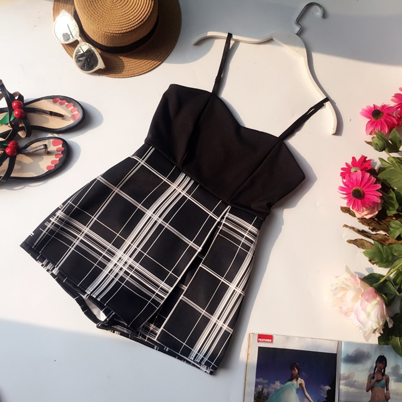 2021 Summer Ladies Strap Plaid Skinny Camisole Jumpsuits Playsuits Loose Shorts Skirt Women Casual Slim Beach Romper Overalls