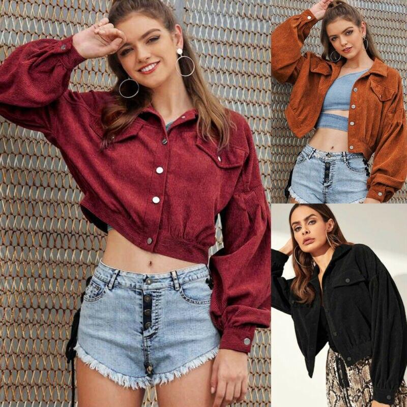 Nueva marca de moda de Mujeres de pana Chaqueta corta botón bolsillo de abrigo largo de manga Puff prendas de vestir superior