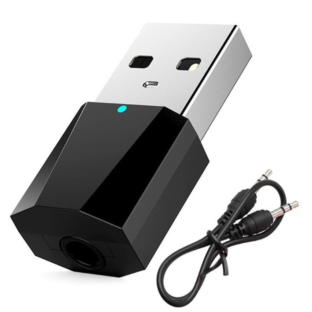Мини USB беспроводной Bluetooth совместимый адаптер аудиоресивера 4,0 музыкальные колонки громкой связи вызов 3,5 мм AUX автомобильный стереоадапте...