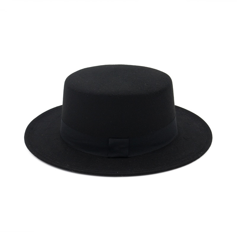 New Fashion Unisex Wool Fedora Hat Blend Jazz Cap Wide Brim Simple Church Derby Flat Top Hats 58CM