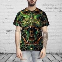 summer men t shirt 3d animal skull print fashion casual short sleeve sweatshirts streetwear man