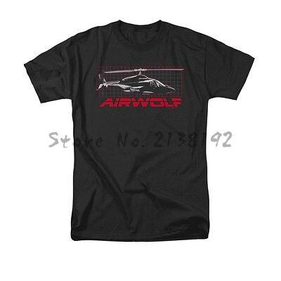 Envío Gratis Airwolf helicóptero TV Show Grid camisa con licencia para adultos camisa S-3XL de algodón para hombre Camiseta de verano para hombre