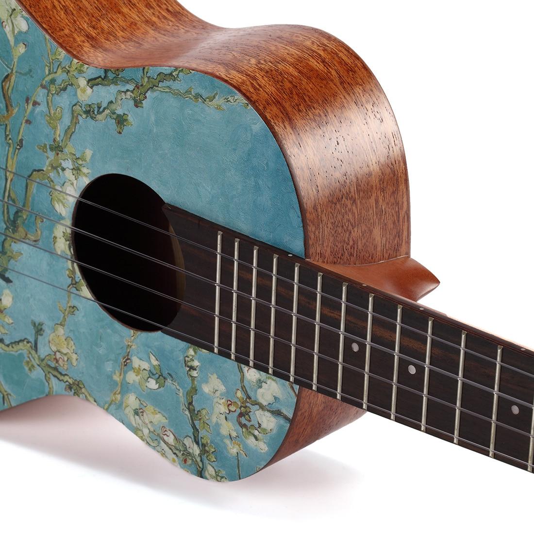 TOM 23 Inch Ukulele Mahogany Rosewood Hawaii Strings Guitar & Van Gogh Artist Series Wheat Field Apricot Flower Paint enlarge