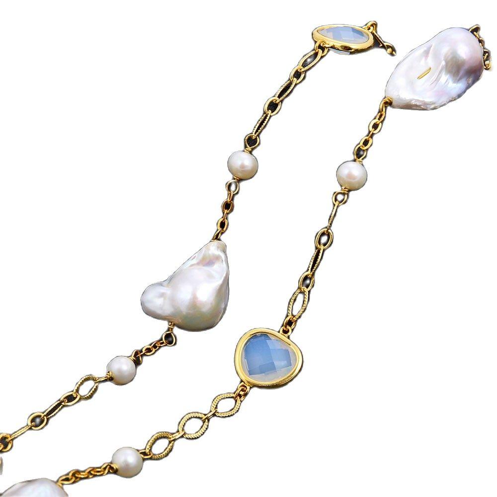 GG Jewelry-عقد من الكريستال الأبيض لآلئ كيشي الطبيعية المستديرة ، 60 بوصة