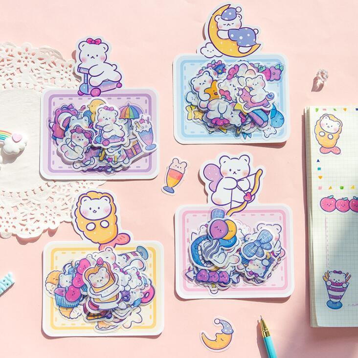 2020 Sharkbang 40 unids/pack oso arcoíris lindo álbum de recortes bala pegatinas DIY ablon diario recortes papel pegatina papelería