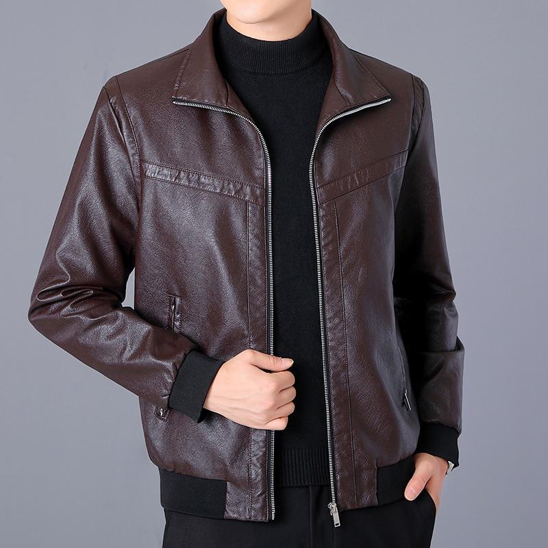 2020 new men's fashion casual business lapel leather jacket youth autumn stitching PU leather jacket