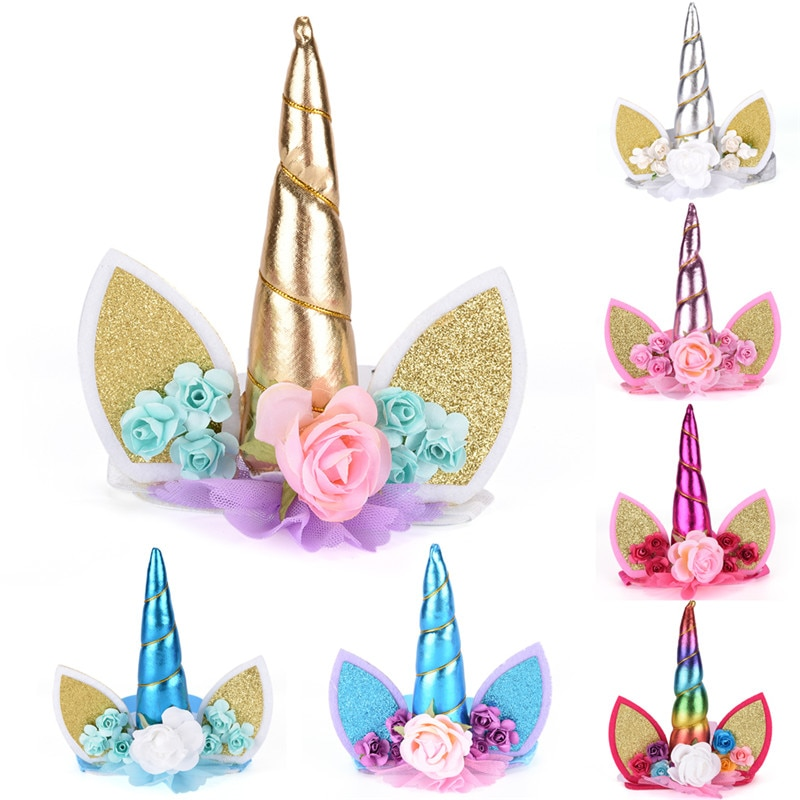 1PC DIY Glitter Metallic Unicorn Headband Felt Unicorn Horn Hairband Unicorn Party Hair Band Accessories For Girls Kids