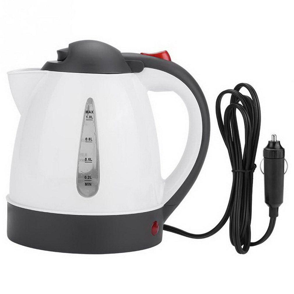Автомобильный Электрический чайник, портативный дорожный котел, 1 л, с подогревом, 12 В