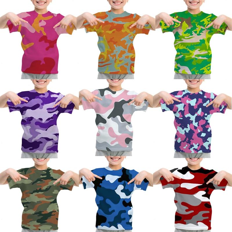 Футболка детская камуфляжная с 3D принтом, креативная яркая рубашка, топ для мальчиков и девочек, уличная одежда для подростков, лето
