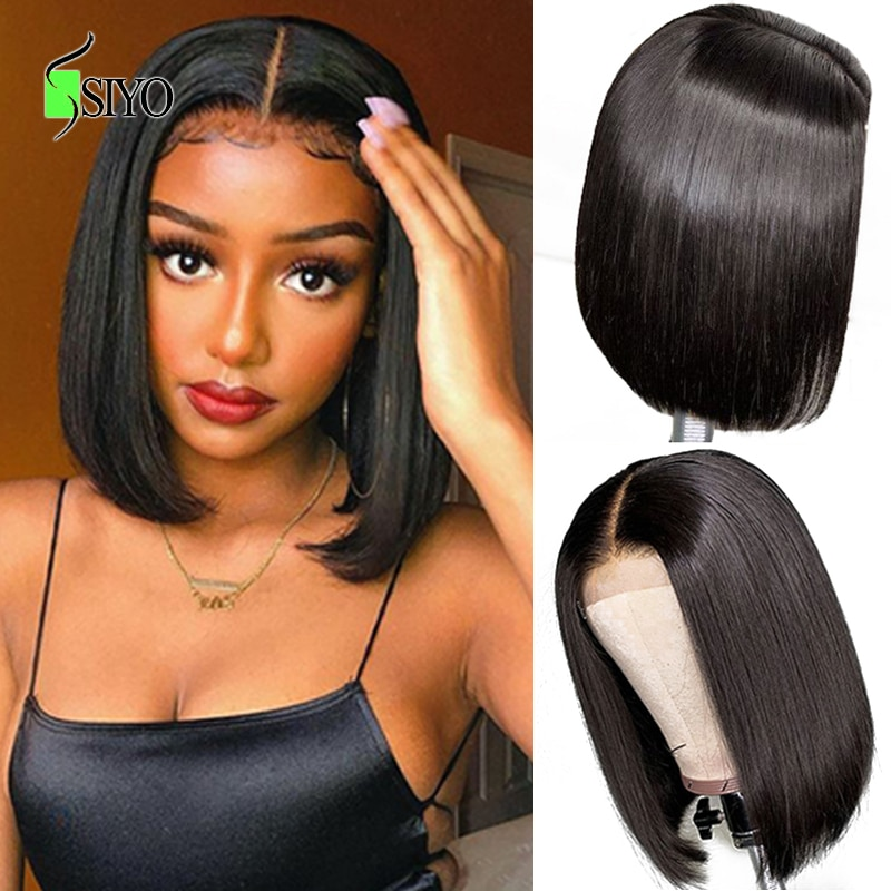Siyo Short Bob Wigs Brazilian Straight Human Hair Wigs 4x4 Lace Closure Wig for Black Women Pre Plucked Lace Wig 100% Remy Hair