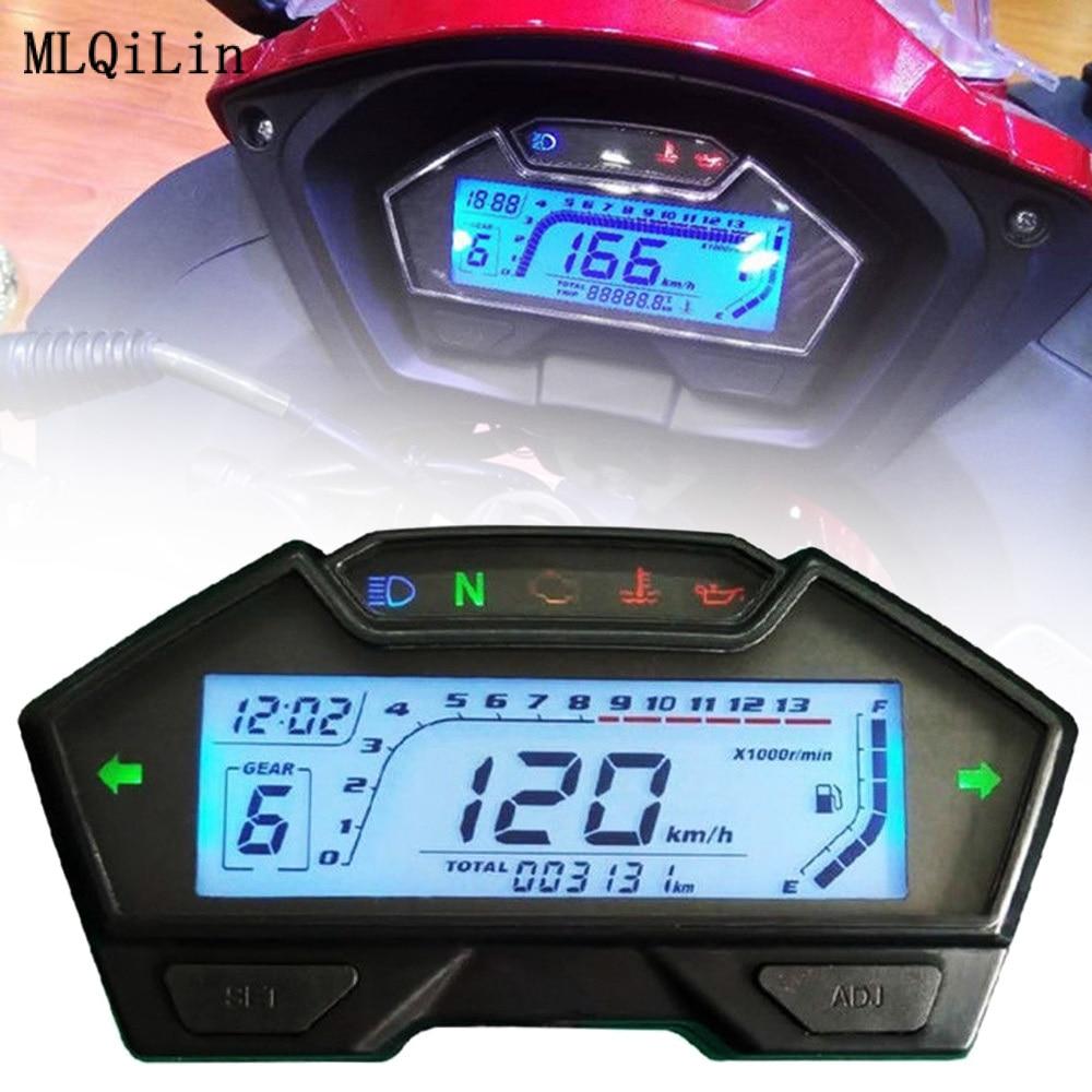 عداد السرعة الرقمي العالمي للوحة القيادة للدراجات النارية ، عداد المسافات ، 12 فولت ، 13000 دورة في الدقيقة ، عداد الزيت ، مقياس متعدد الوظائف