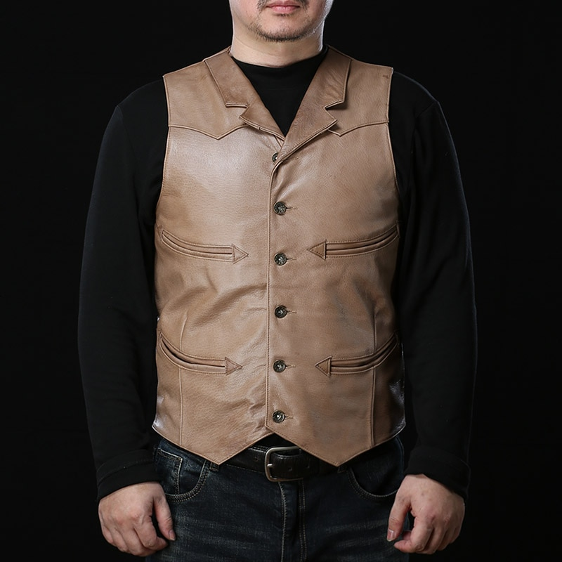 10010 Super Offer! Read Description! Asian Size Super Quality Vest Men's Sheep Leather Mens Skin