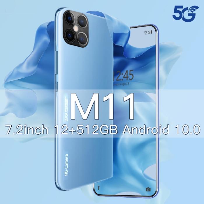 Xiomi M11 Smartphone Android 10 512gb 7.2 inch Smart Phones Unlocked 5g Cellphones 5000mAh Mobile Ph