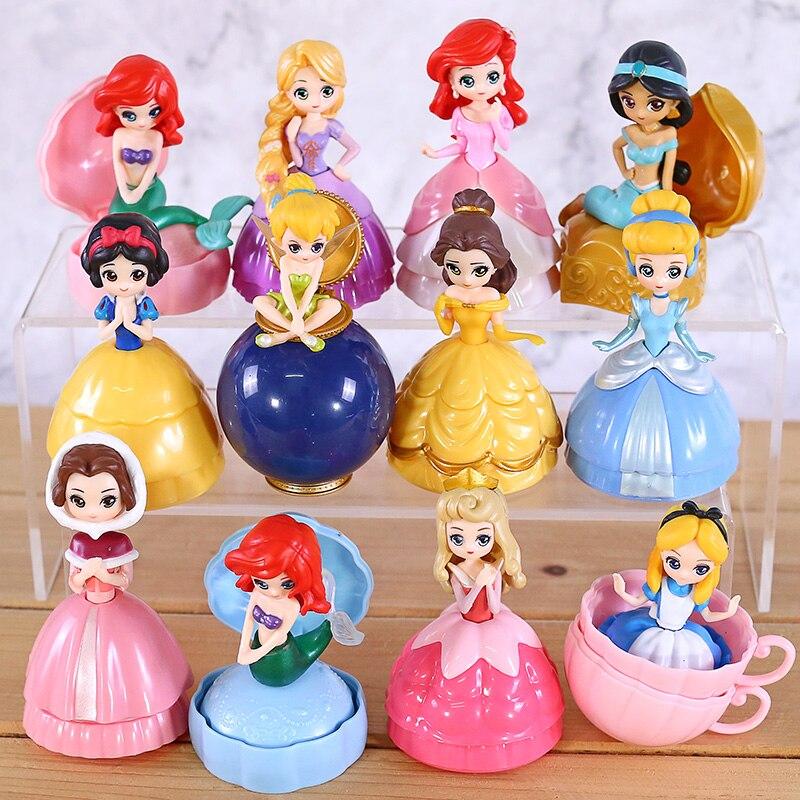 Q Posket Princesses Toys Cinderella Belle Ariel Snow White Aurora Rapunzel Alice PVC Action Figures Dolls Girls Gifts 12pcs/set