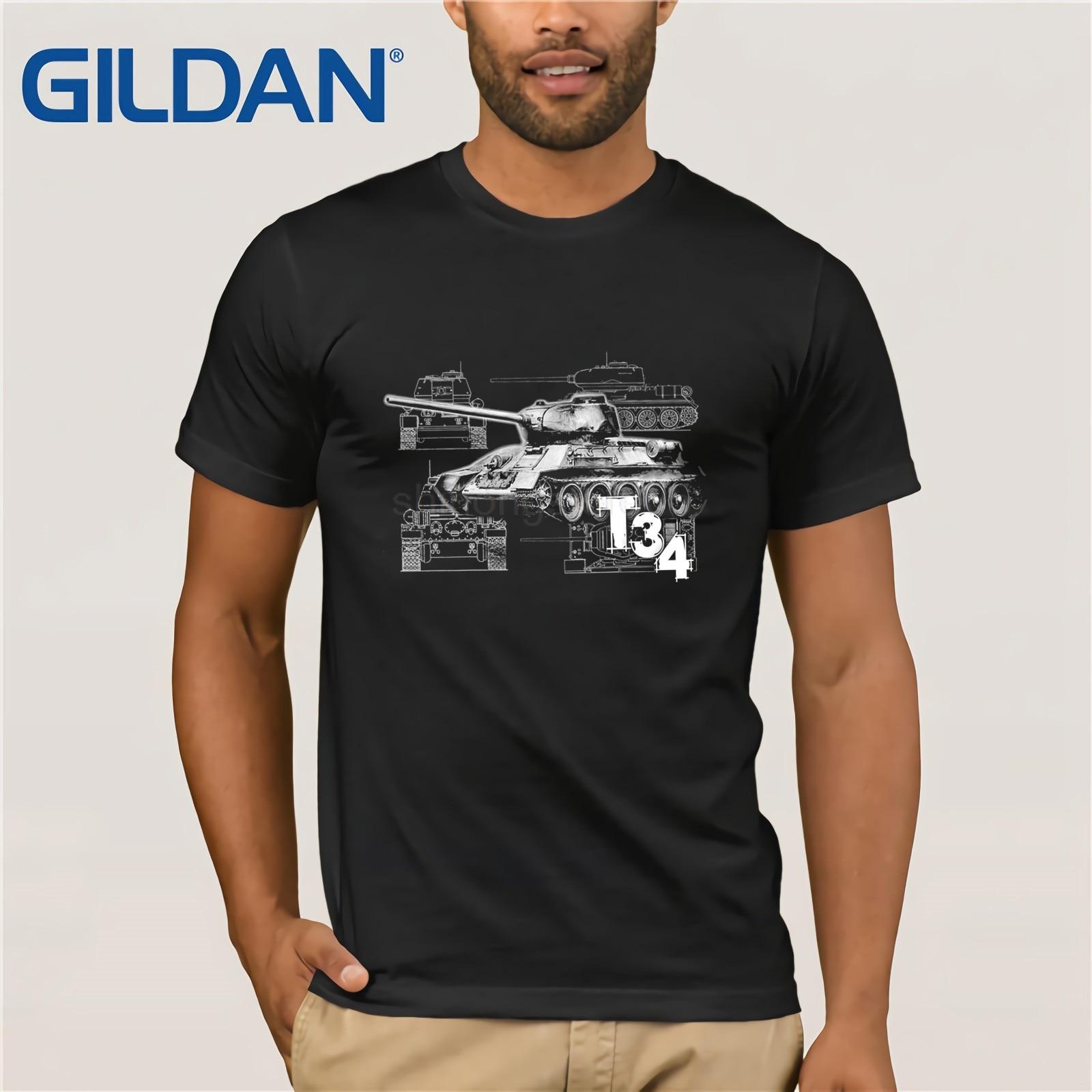 2020 New Mens T Shirts Shirt t-shirt Tiger Tank T34 Army Russia Soldiers Military Fun Print Round Neck Man