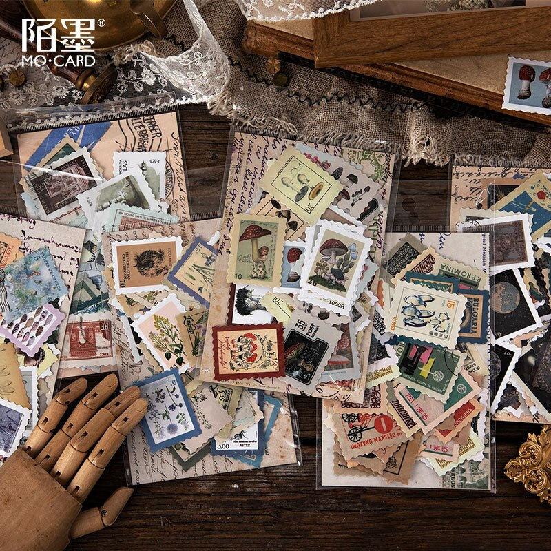 Vintage sello plantillustrado seta bala diario decorativo papelería pegatinas Scrapbooking DIY álbum diario Stick etiqueta