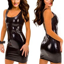 Sexy Leather Dress Backless Club Party Short Dress Solid Black Wet Look Latex Bodycon Push Up Bra Mi