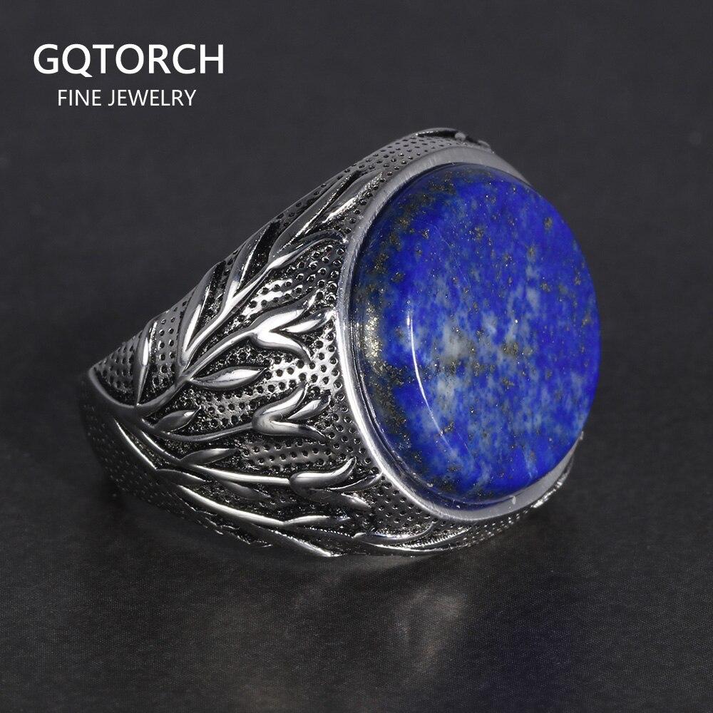 Подлинное твердое 925 пробы серебряные кольца с натуральным лазуритом ветви дерева Выгравированные турецкие кольца на палец мужское кольцо