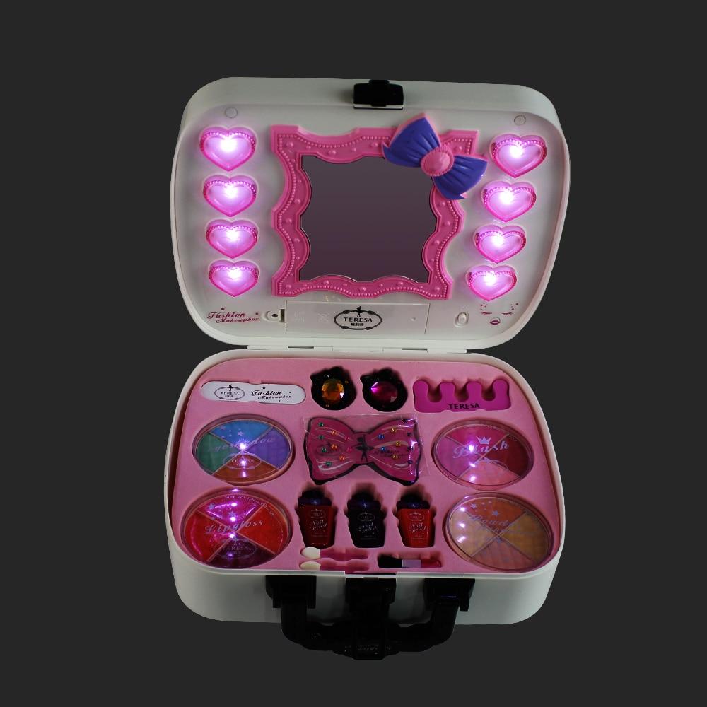 Полный Профессиональный макияж, моющиеся косметические наборы для макияжа, косметические тени для век для девочек, детские игрушки на день ...