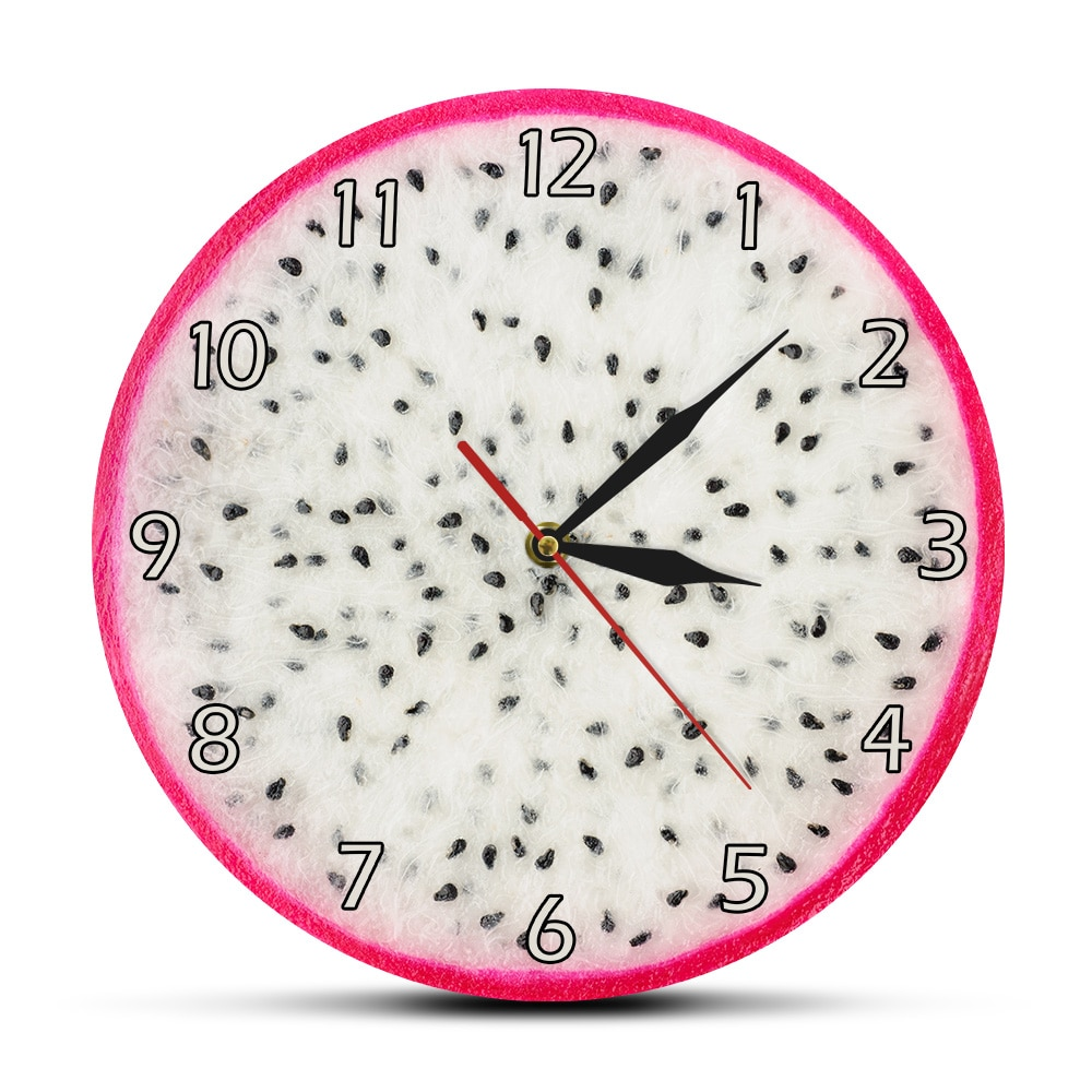 Reloj de pared con estampado acrílico de frutas y dragón del rey del desierto, planta de vid, Hylocereus Pitaya, reloj colgante de pared, decoración de frutería fresca