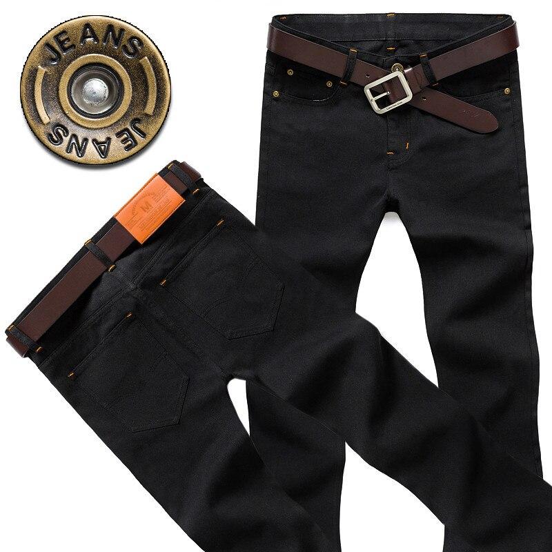Мужские прямые джинсы, облегающие модные черные трендовые брюки, мужские мотоциклетные джинсы, облегающие зимние джинсовые брюки, потертые...