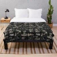 Couverture a jet en flanelle Sherpa  couvre-lit en fourrure de pique-nique pour canape