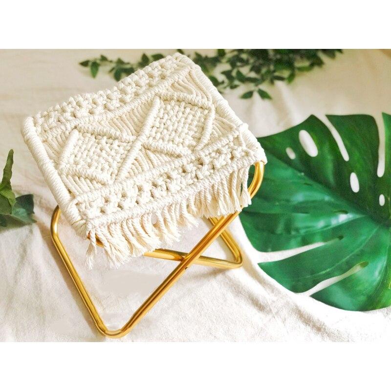 Oro cuerda de poco Mazar portátil plegable PUF tricot taburete pequeño
