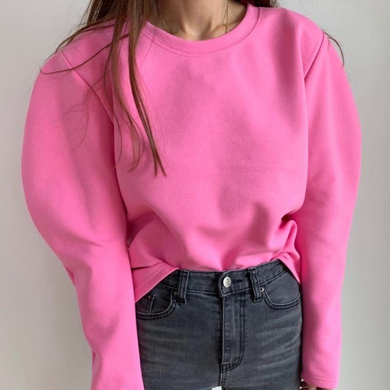 Новинка, розовый спортивный костюм с капюшоном для женщин, толстовки с капюшоном, флисовые толстовки в стиле оверсайз, однотонные куртки, фу...