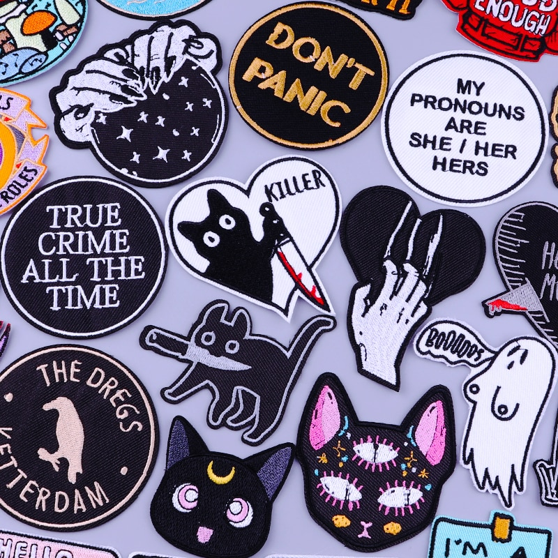 Нашивки в стиле панк с котом и ножом в полоску с вышивкой для одежды, самодельные нашивки с утюгом на одежде, значки в стиле хиппи с черепом, н...