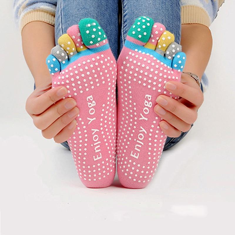 Mulheres coloridas yoga meias antiderrapantes senhoras dança meias algodão esportes saudáveis cinco dedos meias