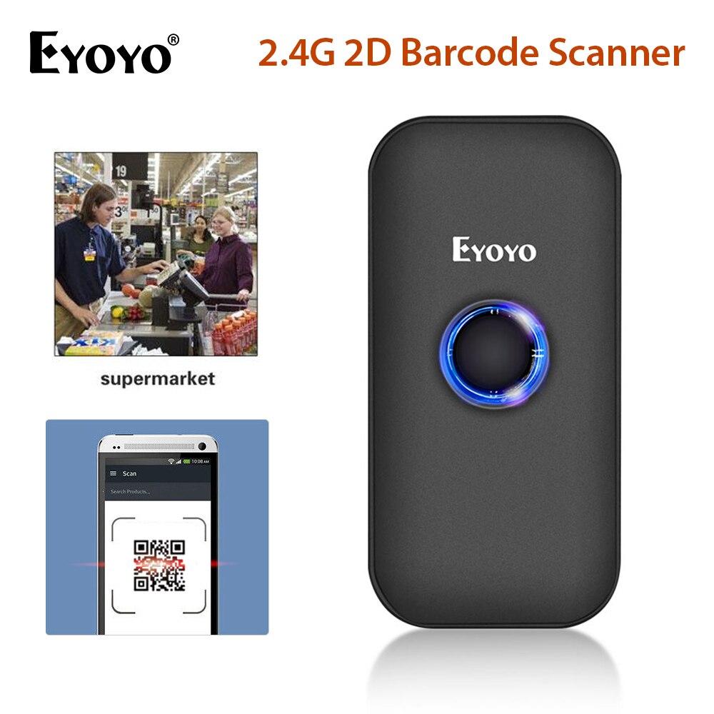 Eyoyo EY-009 1D 2D الباركود ماسحة بلوتوث و 2.4G اللاسلكية الباركود قارئ QR كود قارئ ل IOS باد فون الروبوت أقراص PC