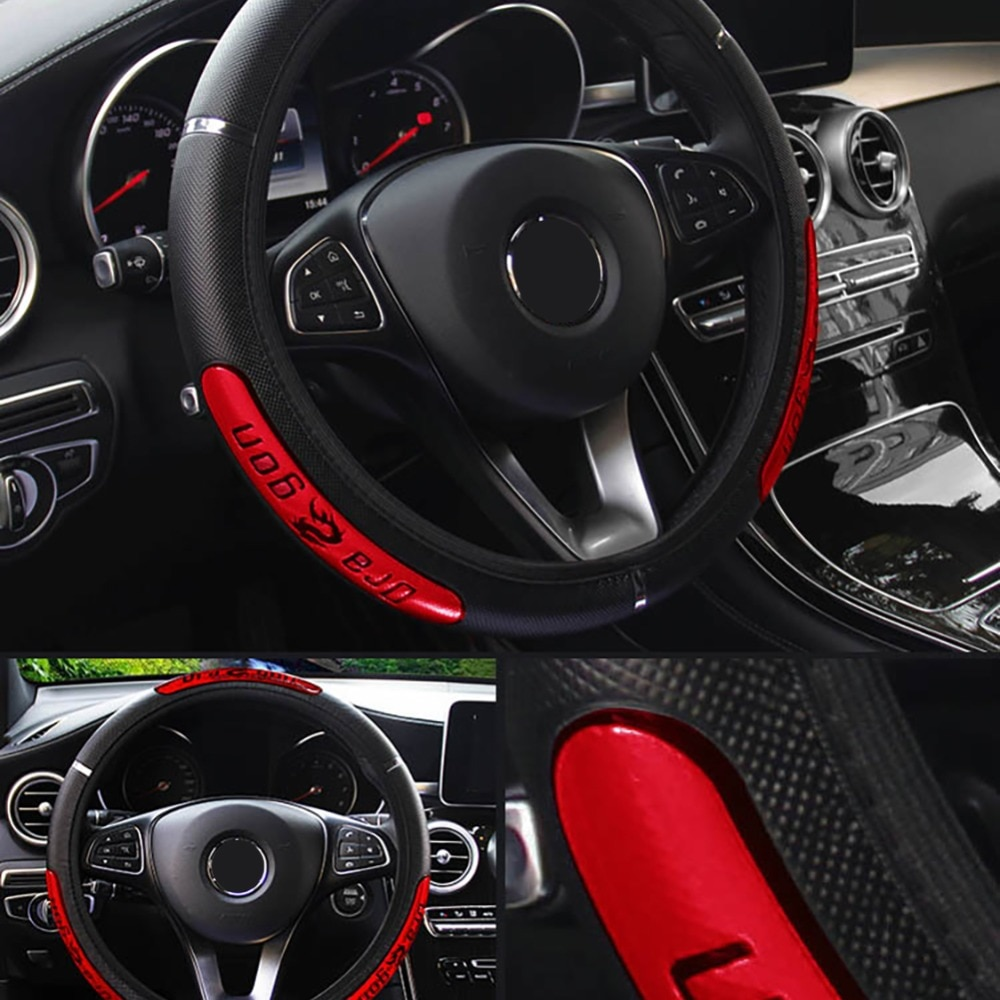 Car Steering Wheel Cover Reflective Faux Leather Elastic China Dragon Design Auto Steering Wheel Protector Universal