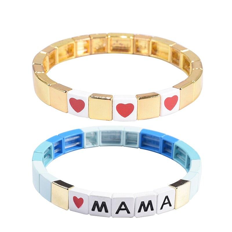 Pulsera de esmalte dorado Tila, pulsera de letra de alfabeto Love, pulsera de bloque de color, brazalete elástico, brazalete rectangular, pulseras de azulejo Miuki