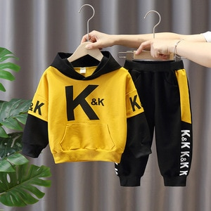 Children's set 2020 spring and autumn new boys set handsome letter printing hooded long-sleeved + trousers two-piece set suit