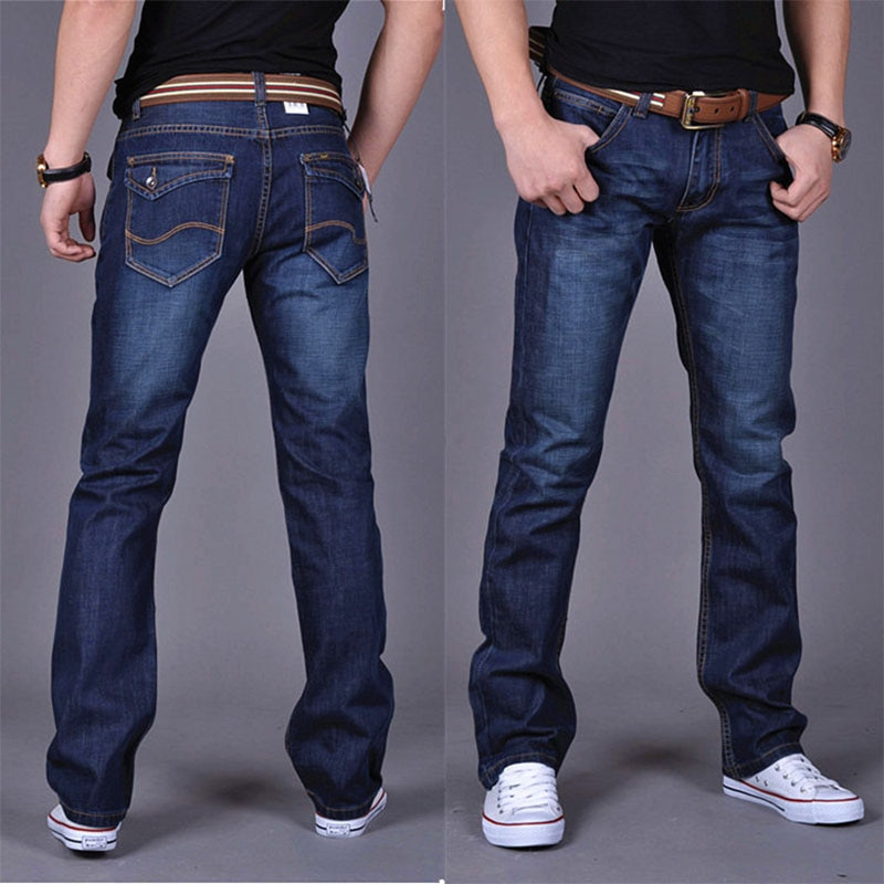 2019 Casual Jeans Men Business Straight Jeans Stretch Denim Pants Trousers Slim Fit Classic Cowboys