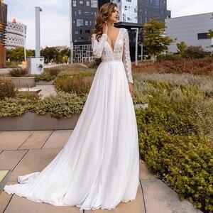 Wedding Dress Sexy Chiffon Boho V Neck Long Sleeve Bohemian Bridal Wedding Party Gown A Line Bride White Dress Vestido De Noiva
