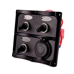 Iztoss marinha elétrica 3 gang led interruptor de alternância painel com 1 tomada de energia para barco caminhão e rv