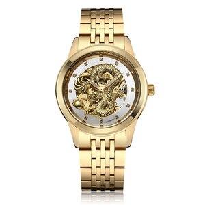 Luxury Gold Dragon Automatic Self-Wind Mechanical Men's Watch Waterproof Skeleton Analog Mechanical Wrist Watch Relogio Masculin