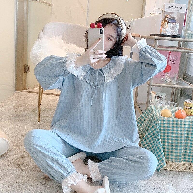 Sweet Lace Cotton Maternity Nursing Pajamas Suits Breastfeeding Sleepwear for Pregnant Women Mother Pregnancy Feeding Lounge
